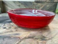 Red glass bowl