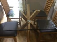 Oak and glass dining table and 4 high back chairs