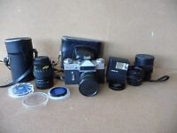 Zenit-E camera made in USSR with original leather case and accessories - REDUCED