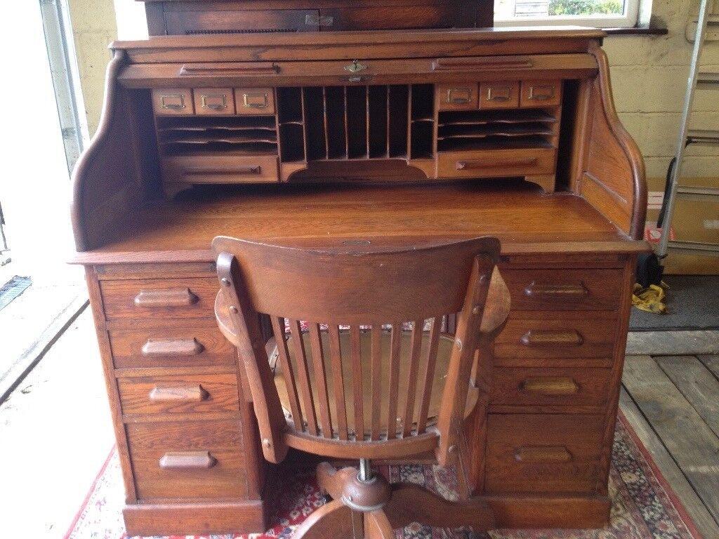 Lebus Oak Roll Top Desk