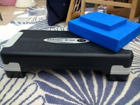 Aerobics step and yoga/Pilates blocks. Hardly used.