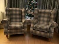 Wingback armchair set - grey / neutral tartan check