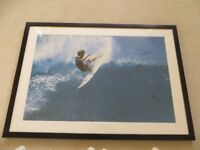 FRAMED PICTURE OF SURFER WITH CLEAR GLASS & BEVELLED EDGE MOUNT