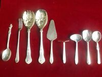 Assorted Silver Plate Collection Job Lot Spoons Cake Slice Salad Servers Fork