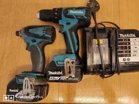 Makita combo set, drill/driver, impact driver batteries and charger