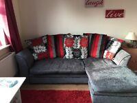 Grey/ red sofa