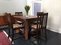 1940 Dark Oak Wool. Dining Room Table & Chairs