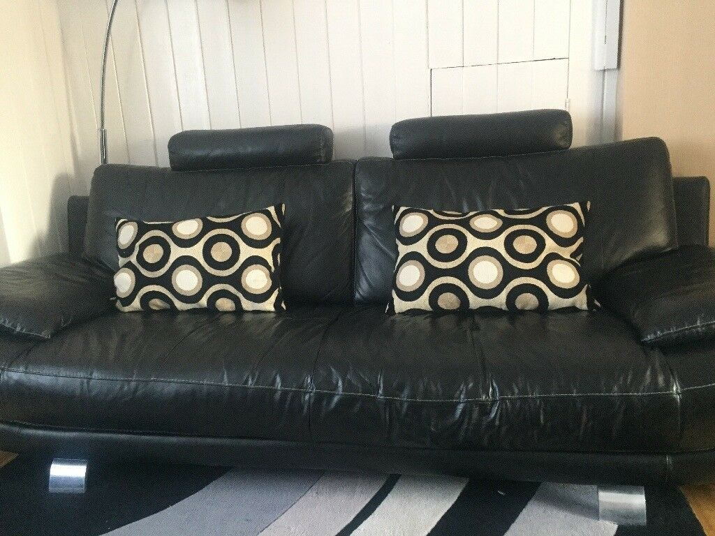 Leather Sofa Set 3 2 At 1 Seater Black With Foot Stool