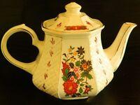 Vintage Sadler Indian Tree/Indian Peony Multi Colour Gold Rimmed Basket Weave Octagonal Teapot
