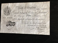 ORIGINAL BANK OF ENGLAND GENUINE MARCH 1952 BEALE WHITE £5 POUND NOTE
