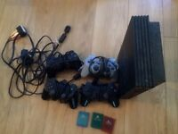 Sony play station 2 with two controllers and box