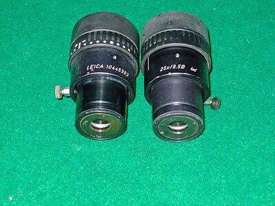 pair of LEICA Widefield  MICROSCOPE Adjustable Eyepiece 25x/9.5B Used Working