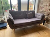 French Connection Zinc 3 Seater Sofa and Armchair in velvet