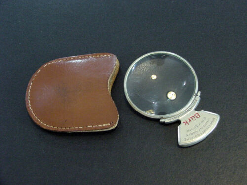 """BURK antique German handheld magnifying glass in leather case 2""""x 3"""" ~Very Rare~"""