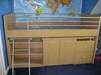 Cabin bed, high sleeper, pull out desk with chair