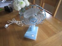 VINTAGE PIFCO SPINAIR MK2 TWIN SPEED OSCILLATING DESK FAN - ITALY - RARE BLUE COLOUR