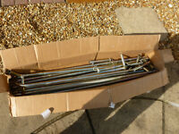 Awning poles assortment. Steel. Mostly off a Harrison Colston awning. Approx 30 pieces.