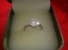 Sterling Silver Ring set with large Cubic Zirconia Stone - Hallmarked