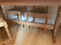 Priory light oak 6ft table and 6 chairs