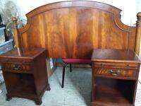 Mahogany headboard and bedside cabinets