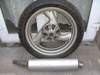 ducati-brembo-rear-wheel + ducati-muffler