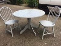 Shabby Chic driftwood effect painted pine dining table and 2 chairs