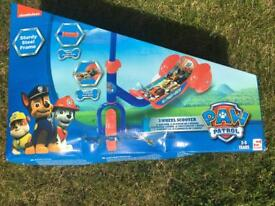Boys scooter - paw patrol 3 wheeled scooter