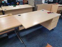Pickled oak office single desk/table/computer desk with built in pedestal/drawers