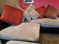 Brown Italian Leather with latte/beige coloured fabric cushion, corner sofa with large footstool