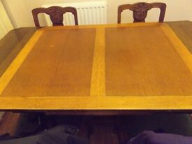 solid wood dining table and chairs 1930s
