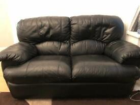 Used leather sofa 3 + 2 + 1 black