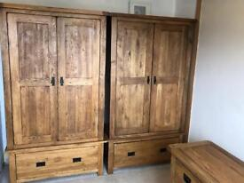 Solid oak wardrobes and drawers