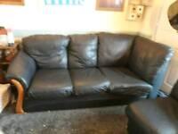 Navy/black leather corner sofa