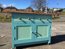 Great British Bake Off Solid Wood Painted Kitchen Unit Cabinet Portable With Beech Worktop