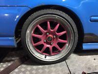 Rota GT3 16X7 ET40 Polished Lip Pink Centre 165/45/16 4X100