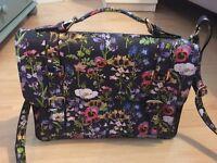 Black floral satchel-style handbag, barely used