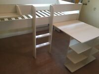 Stompa Mid Sleeper (bunk) bed with pull out Desk on castors good condition