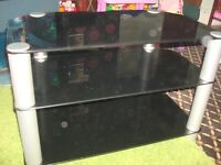 tv stand black glass ready to go