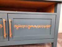 Upcycled Blue and Copper Leaf TV Unit