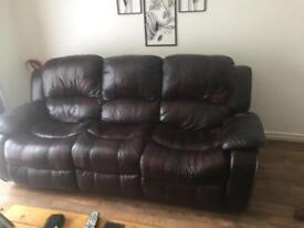 Good quality leather recliner 3 seater