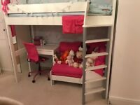 High sleeper bed with futon, desk and chair. Mattress also available.