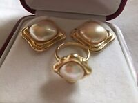 Vintage Majorica Rolled Gold Pearl Ring and Earring Set
