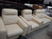 X DISPLAY PALOMA 2+1+1 ELECTRIC RECLINER SET REAL LEATHER QUALITY SOFAS