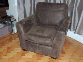 Cloth, leather look armchair