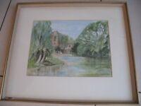 'The Steeplechase' print - watercolour of Hemingford Grey