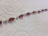 Sterling Silver & Amber Bracelet / NEVER WORN / orig packaging / well-designed piece from Scotland