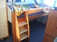 Stompa Rondo Cream and Pine Cabin Bed with Pull Out Desk Mid Sleeper £90.00 Essex SS6