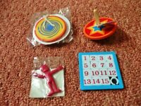 Childrens Party Bag Fillers Toys Number Slide Game Puzzle Wooden Button Spinner Spinning Top etc
