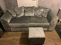 Silver crushed velvet 3 seater sofa and footstall