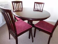 round table plus 4 chairs
